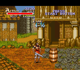 Knights of the Round SNES Barrels contain gold and power ups