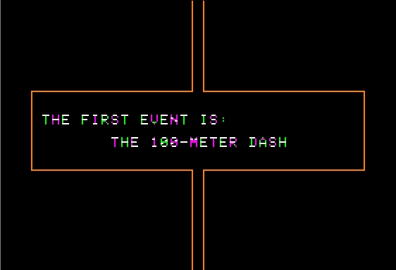 Microsoft Decathlon Apple II Announcing the first event
