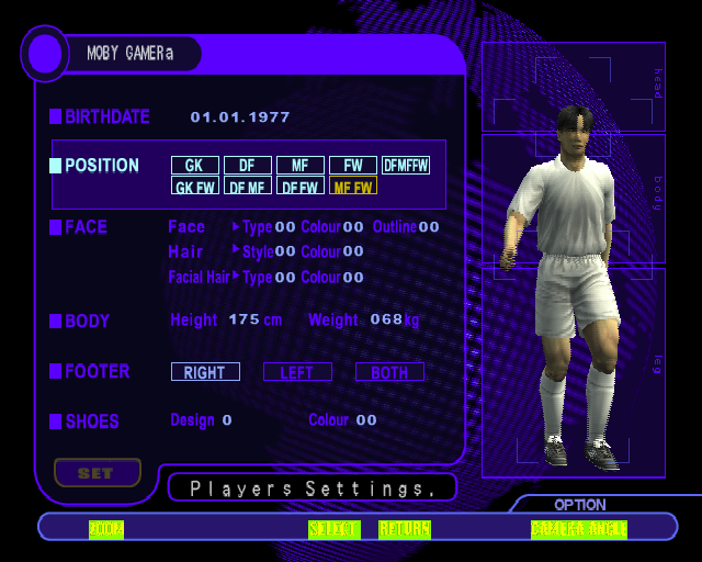 International Superstar Soccer PlayStation 2 The Create Player option.