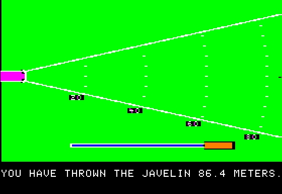 Microsoft Decathlon Apple II Javelin Throw