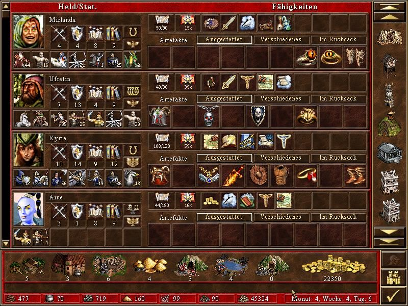 Heroes of Might and Magic III: The Restoration of Erathia Windows Overview of your kingdom and heroes
