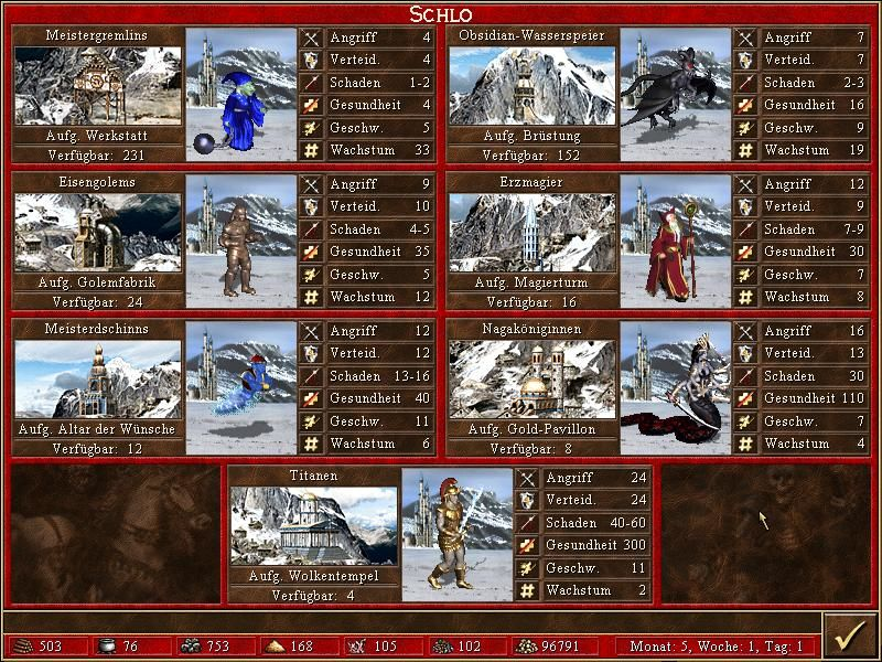 Heroes of Might and Magic III: The Restoration of Erathia Windows Recruiting Creatures