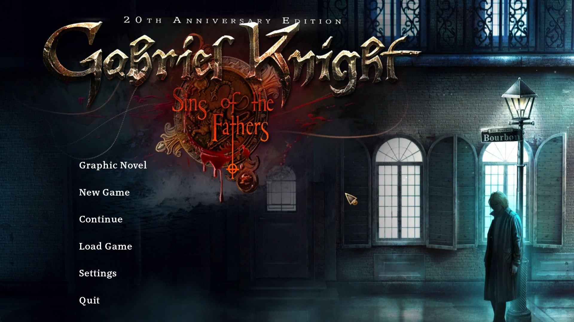 Gabriel Knight: Sins of the Fathers - 20th Anniversary Edition Windows Main menu.