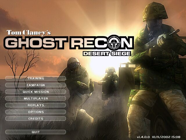 Tom Clancy's Ghost Recon: Desert Siege Windows Title Screen.