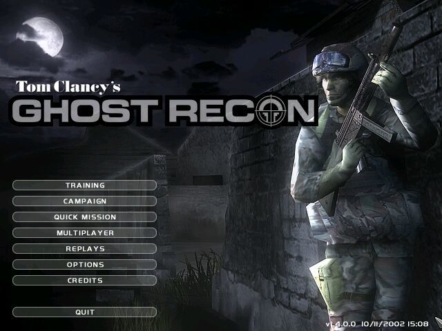 Tom Clancy's Ghost Recon Windows Title Screen.