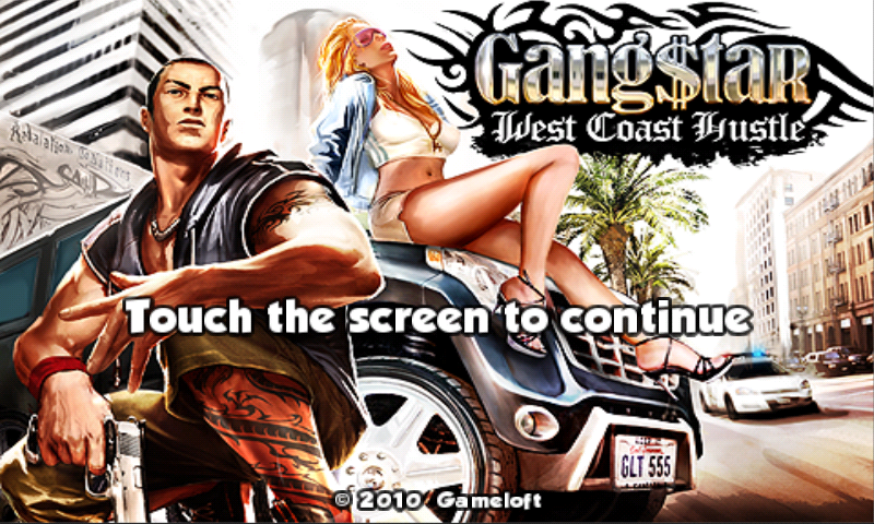 Gang$tar: West Coast Hustle Android Title screen