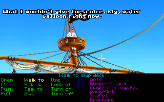 The Secret of Monkey Island DOS Nice scene up on the mast. Guybrush will sometimes share his thoughts with the player