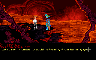 The Secret of Monkey Island DOS A dialogue late in Act III. The final (and shortest) Act IV will begin soon. Typical Monkey Island humorous choices