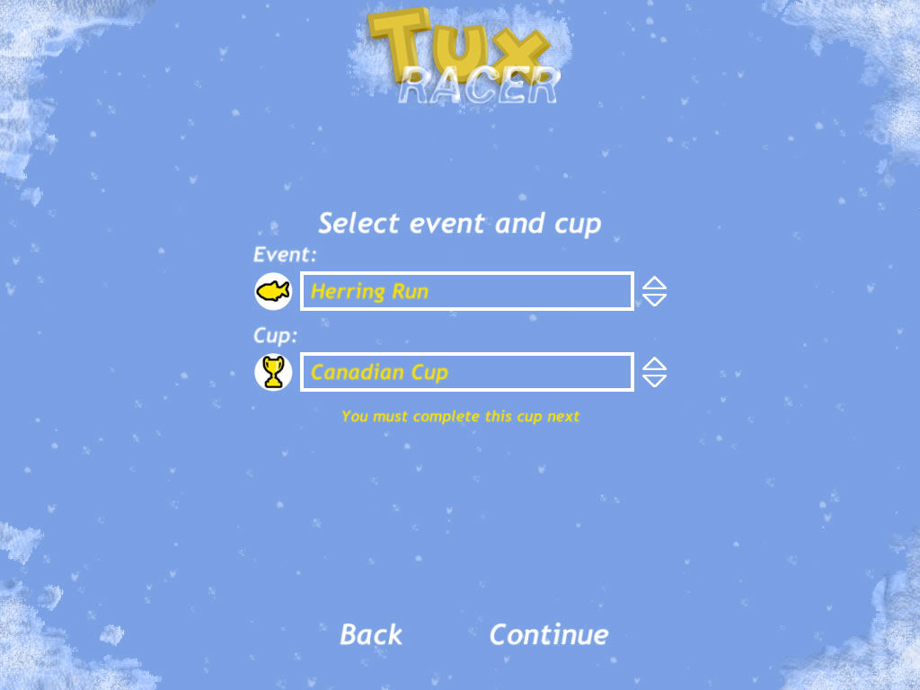 Tux Racer Windows You can race through a set of cups. Winning unlocks new ones.