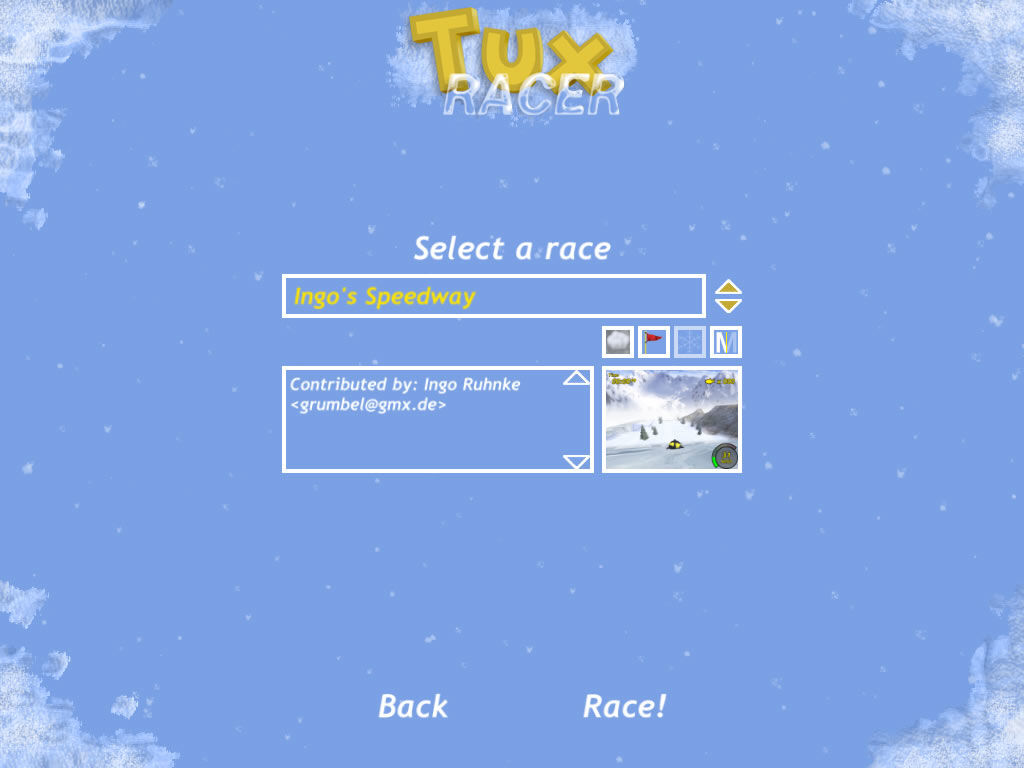 Tux Racer Windows Practice on the default tracks or download custom tracks.