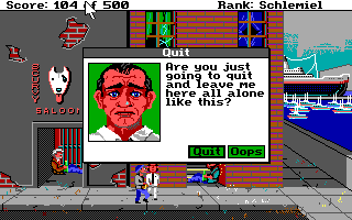 Leisure Suit Larry Goes Looking for Love (In Several Wrong Places) DOS Near the harbor area in LA. This screen appears when you attempt to quit the game