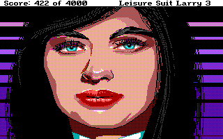 Leisure Suit Larry III: Passionate Patti in Pursuit of the Pulsating Pectorals DOS Close-up on the lawyer Suzi Cheatem