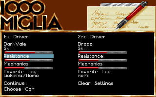 1000 Miglia DOS Character Creation