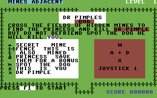 Dr. Pimple's Dog Commodore 64 Instructions