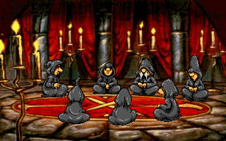 Discworld DOS These hooded figures summoned the dragon that you're called to get rid of