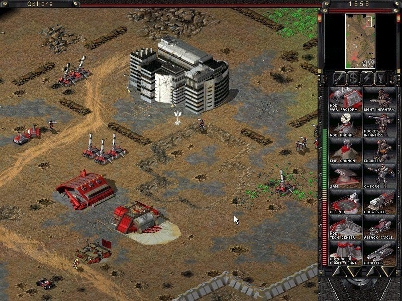 Command & Conquer: Tiberian Sun Windows Nod artillery leveling down the civilian hospital.