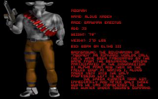 In Pursuit of Greed DOS Detailed characters' profiles are shown after the intro.