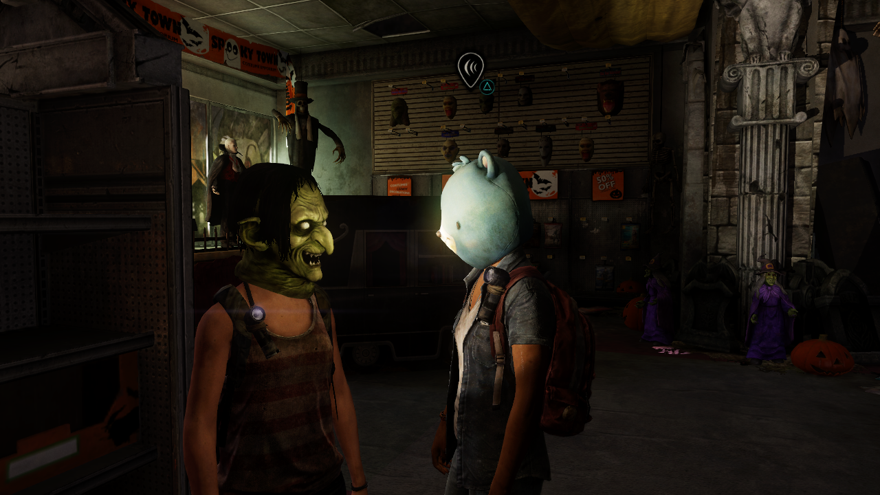 The Last of Us: Left Behind PlayStation 3 Girls try different masks in Spooky Town shop