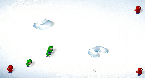 SnowCraft Browser I moved the red boys to avoid the snowballs of the green boys.