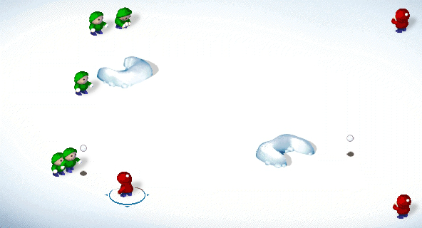 SnowCraft Browser Level 3: I threw a snowball to hit the green boy.