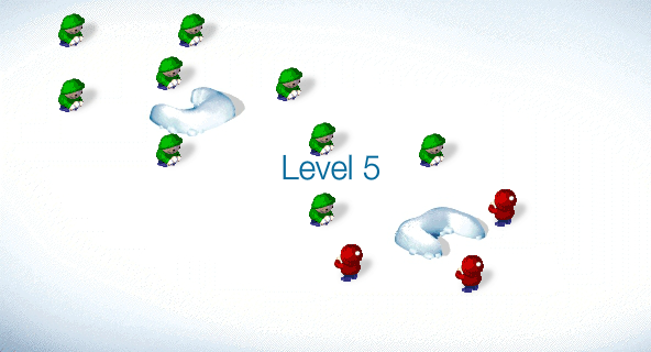 SnowCraft Browser Start of level 5: a lot of green boys