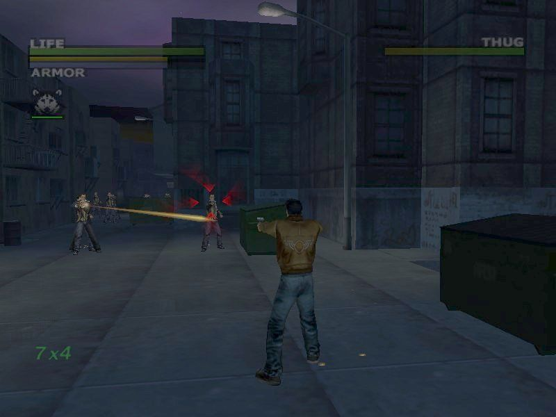 Dead to Rights Windows Autotarget (the red arrows) helps avoid the aiming problems that plague many 3rd person shooters.