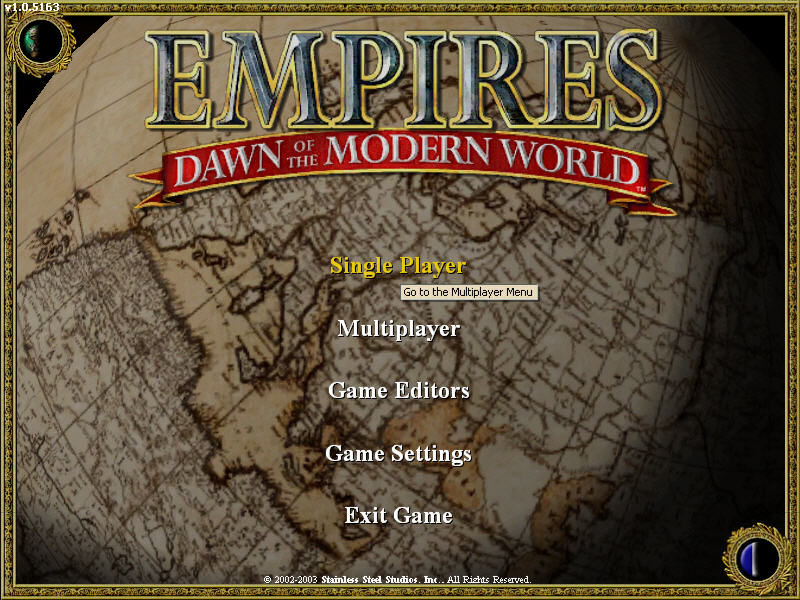 Empires: Dawn of the Modern World Windows The Main Menu