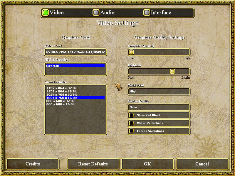 Empires: Dawn of the Modern World Windows The Options Screen
