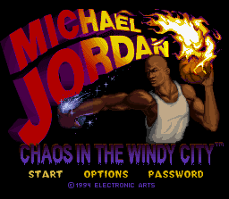 Michael Jordan:  Chaos in the Windy City SNES Title Screen
