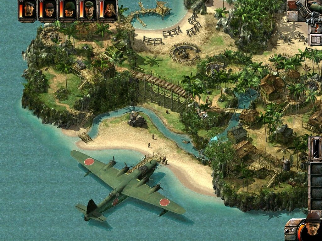 Commandos 2: Men of Courage Windows Full zoom out on the tropical island