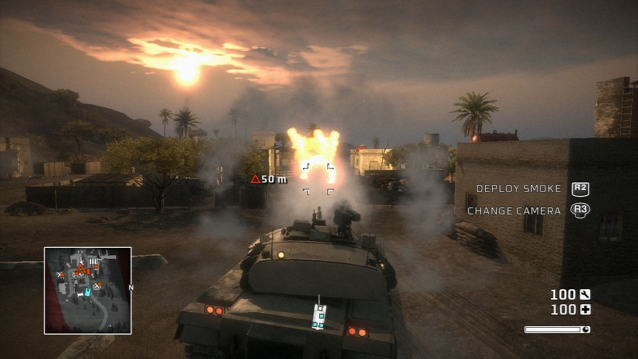 Battlefield: Bad Company PlayStation 3 Driving a tank in a third-person perspective helps the driving part but lessens the ability to aim