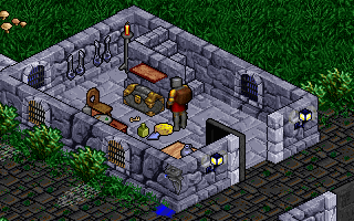 Pagan: Ultima VIII DOS Houses are full of detail, and environments are interactive. I just moved around a flask and some cheese to reveal a key!