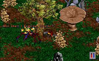 Pagan: Ultima VIII DOS With a gigantic mushroom growing nearby, I summon a fearsome creature who shows some respect to me