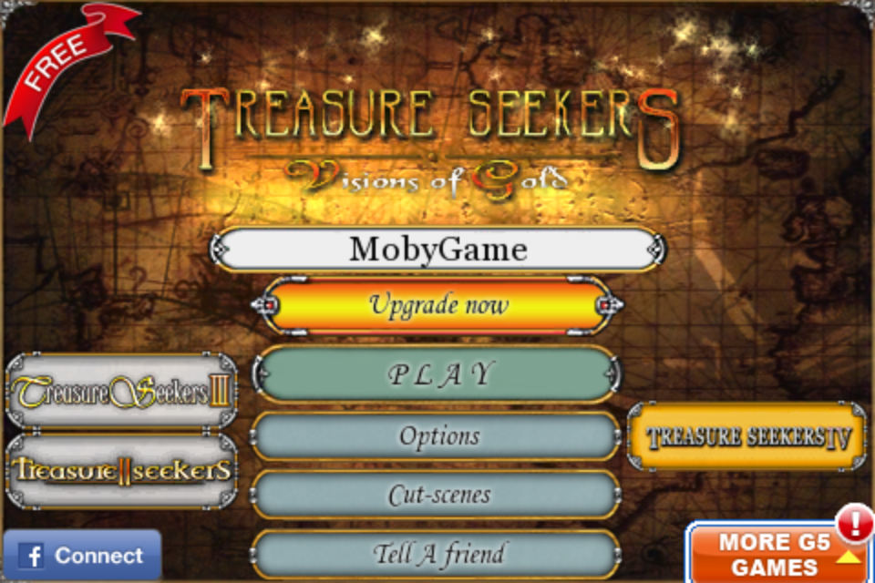 Treasure Seekers: Visions of Gold iPhone Title and main menu