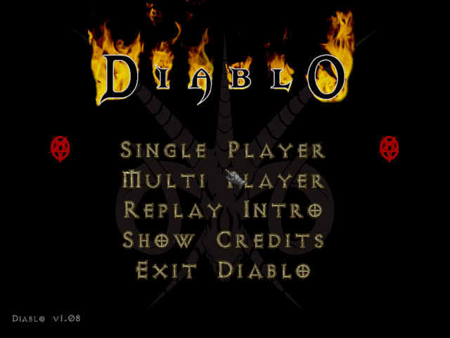 Diablo Windows Main Menu