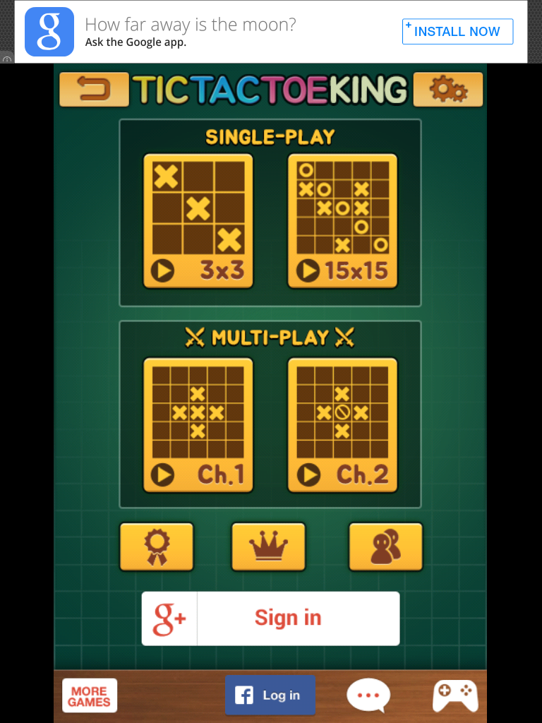 Tic Tac Toe King iPad Title and main menu
