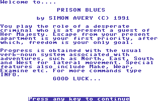 Prison Blues Commodore 64 Title Screen