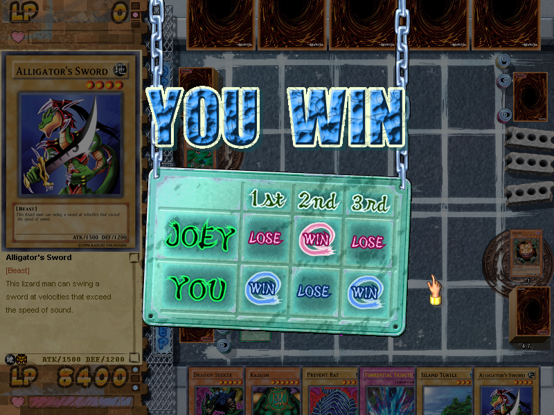 Yu-Gi-Oh!: Power of Chaos - Joey the Passion Windows The scorecard shows how you did in the Match game.