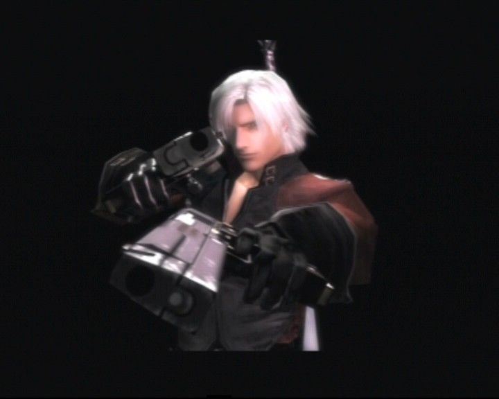 Devil May Cry 2 PlayStation 2 Dante showing up the graphic details before you reach the menu screen.