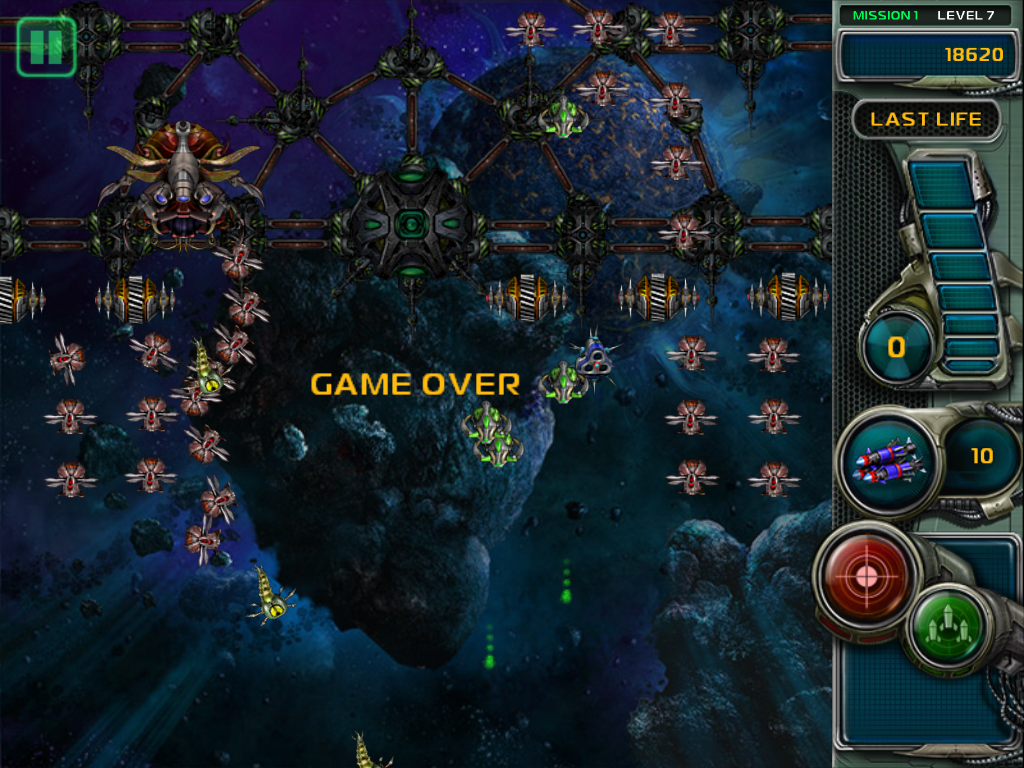 Star Defender III iPad I lost all my lives. Game over. The screen if full of enemies.