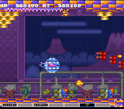 Parodius SNES Inside the bathhouse, penguins take their showers