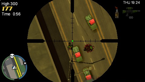 Grand Theft Auto: Chinatown Wars PSP Using sniper rifle
