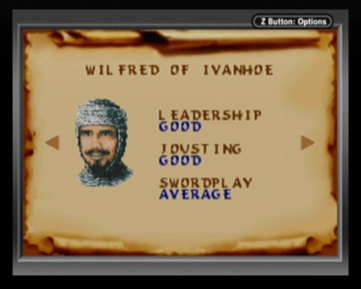 Defender of the Crown Game Boy Advance Character selection screen.