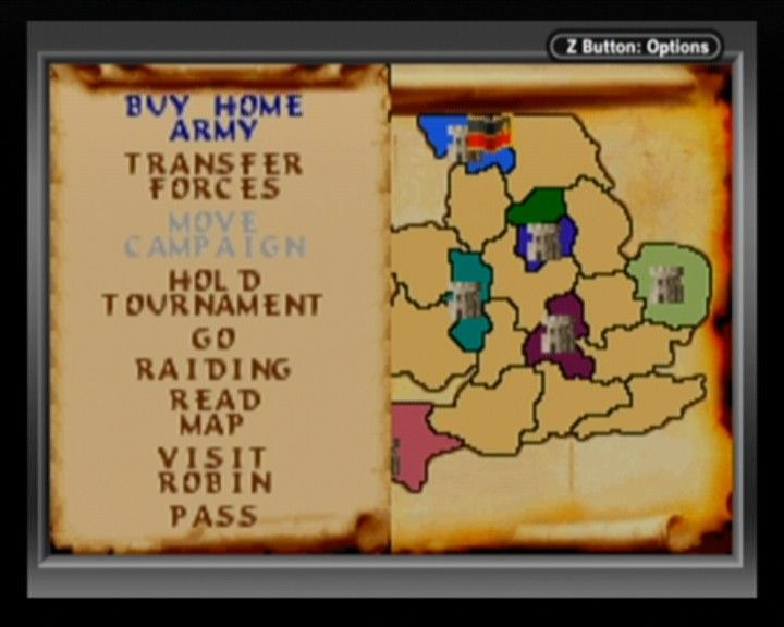Defender of the Crown Game Boy Advance A map on England (right) and a main in-game menu (left).
