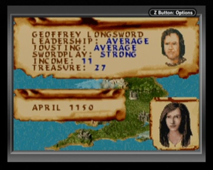 Defender of the Crown Game Boy Advance Your character's statistics can pretty much be read from your face.