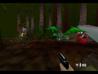 GoldenEye 007 Nintendo 64 Watching Natasha in the jungle level. Your mission is to protect her
