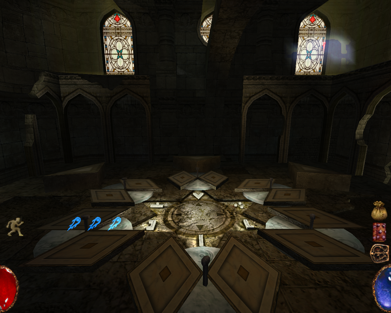 Arx Fatalis Windows Beautiful chapel. Can you solve the puzzle on the floor?