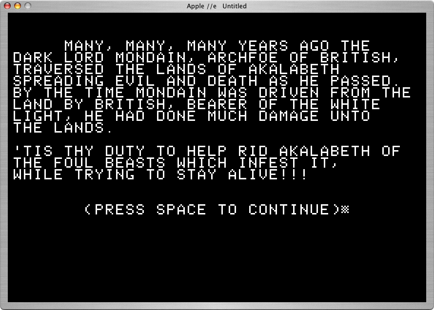 Akalabeth: World of Doom Apple II In this early context, players are engaged in a battle of good versus evil.