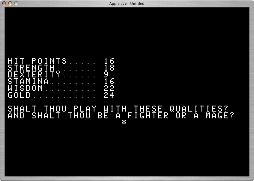 Akalabeth: World of Doom Apple II Like a role-playing game, players build characters with a mix of advantages and weaknesses.  Also two professions.