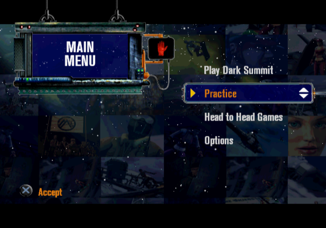 Dark Summit PlayStation 2 Menu screen.